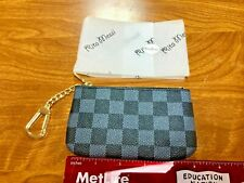 Rita Messi Checkered Zip Coin Pouch Purse Change Holder Wallet Key Chain - Gray