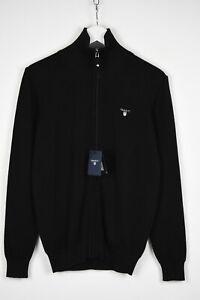 GANT STRETCH COTTON Men SMALL Funnel Neck Zipped Cardigan Sweater 14296