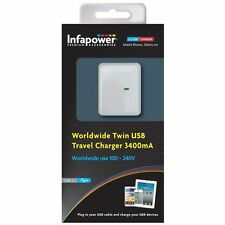 INFAPOWER WORLDWIDE TWIN USB TRAVEL CHARGER 3400MA NEW