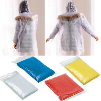 10 X Emergency Waterproof Hooded Raincoat Poncho Hiking Camping Disposable Adult