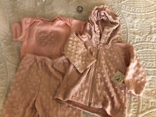 12m Girl Outfit, 3 Piece Set. Zip Hoodie, One Piece & Pants Soft Minky Style Nwt