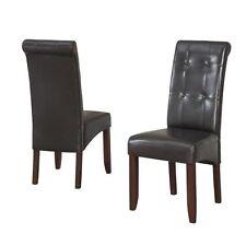 Simpli Home Cosmoplitan Deluxe Tufted Parson Chairs Pu Leather Dark Brown 2