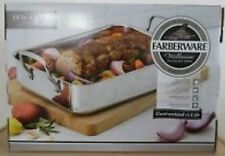 "FARBERWARE MILLENNIUM ROASTING PAN 14""X10"" STAINLESS STEEL OPEN HANDLE ROASTER"