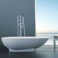 Floor Mount Waterfall Bathroom Faucet Free Standing Tub Filler With Hand Shower