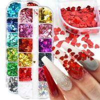 12 Grids Love Heart Nail Art Glitter Sequins Spangle Laser Flakes Sticker Tips