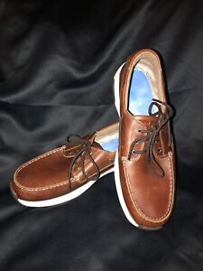 New Balance Men ROLLBAR BOAT SHOES MD1200SB BROWN LEATHER WHITE ABZORB, Sz 11 D