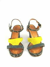CHIE MIHARA Citron Gray Snake Suede Leather Wedge Sandal Heel Pump Size 36.5