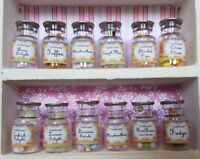 SWEET SHOP glass jars &/or LABELS traditional candy 1:12th scale dolls house UK