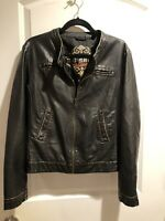 Big Chill Vintage Sz Large Brown Faux Leather Jacket Zip/ New/ Woman's
