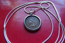 """Classic Indian Head Penny Pendant on a 30"""" 925 Sterling Silver Snake Chain"""