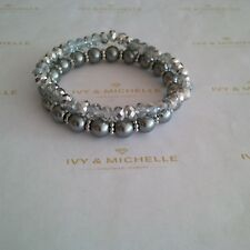 Multi Bead Silver/ Gray Beaded Stretch Bracelet  Set