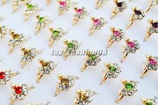 Wholesale 10Pcs Exquisite Rhinestone Filled Gold Plated Rings Wedding Engagement