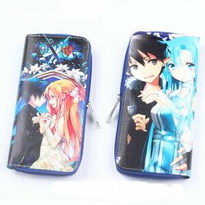 Sword Art Online SAO Faux Leather Long Wallet Purse Holder Kids Wallet Blue