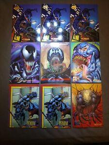 """1993-95' Marvel Masterpiece VENOM (X9 CARD LOT) PARALLEL ART! """"SPIDER-MAN"""" World"""
