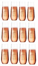 12 Pack Unbreakable Stemless Champagne Flutes, Tritan Plastic, Party Drinkware