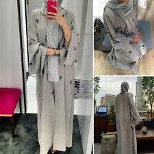 Muslim Women Maxi Dress Robe Embroidery Abaya Open Cardigan Dubai Paryer Ramadan