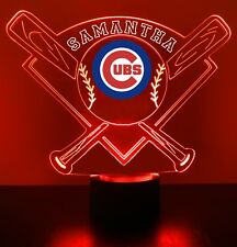 Chicago Cubs Night Light Personalized FREE MLB Baseball LED Night Lamp Cubs