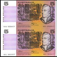 Australian Last 1990 UNCUT $5 Pair 000857s - Fraser Higgins Banknote issues r212