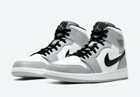 Nike Air Jordan 1 Mid Light Smoke Gray White 554724-092 Men's or GS NEW