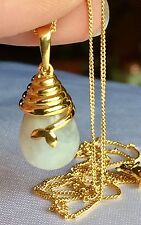 14k Gold on silver Rainbow Moonstone Drop Pendant & Chain (8.750cts