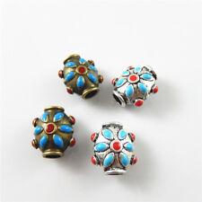 10 pcs Assorted Enamel Plated Flower Pattern Loose Beads Bracelet Pendant Crafts