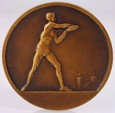French Art Deco Disc Thrower Award Medal Bronze by F. Fraisse & H. Dubois / N137