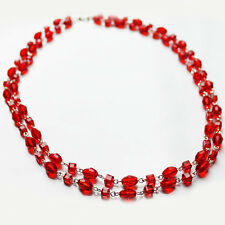 Handmade 55cm Double Strand Red Glass Bead Necklace