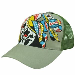TRUCKER MESH SKELETON SKULL HAT CAP GREEN OLIVE NEW ADJ