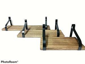 Love-KANKEI Floating Shelves Wall Mounted Set of 3 Rustic Wood Storage Brackets