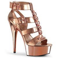 Pleaser DELIGHT-658 Women's Rose Gold Metallic PU Chrome Heels Platform Sandals