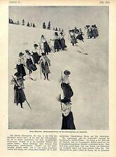 Pensionsschülerinnen auf dem Bossongletscher bei Charmonix c.1904