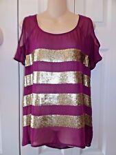 Womens Rock & Republic s Purple Plum Cold Shoulder Gold Sequin top blouse m