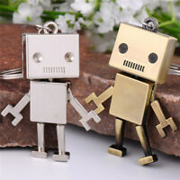 Cute Movable Metal Robot Keychain Keyring Key Chain Ring Bag Purse Pendant SEDD