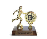 5K Race Trophy, Female- Running- Track- Custom- Desktop Series- Free Lettering