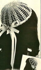 Vintage crochet pattern-how to make a pretty lace bridesmaid juliet cap hat