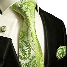 Krawatten Set 3tlg grün paisley SEIDE Paul Malone 805