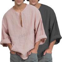 INCERUN Men's Cotton Solid Baggy Short Kaftan T-shirt Holiday Beach V Neck Tops