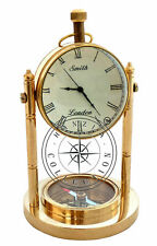 Polished Brass Compass Base Nautical Smith London Desk Clock Table Decor Gift