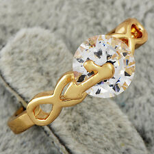 Charming yellow Gold Filled Clear Ball Cz Ring For Womens Size 6 Free Shipping