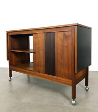 Mid Century Modern Walnut Rosewood Drop Leaf Expanding Bar Cart Credenza Buffet