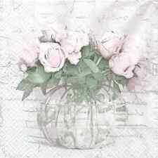 4 Sagen VINTAGE Design Vaso Fiori Rosa Tovaglioli per Decoupage