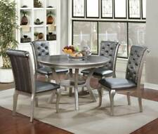 NEW Transitional Champagne Silver Dining Room 5 piece Round Table Chairs Set CDA