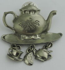 VINTAGE PEWTER TEAPOT BROOCH PIN CUP CHARMS SIGNED