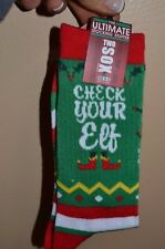 Two Sox CHECK YOUR ELF Christmas Socks Mens Crew Socks Size 10-13