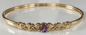 VERY BEAUTIFUL SOLID 9ct GOLD AMETHYST BRACELET