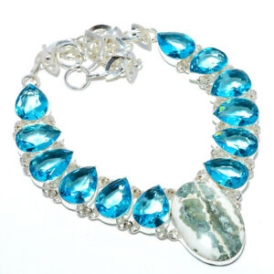 "Ocean Jasper - Madagascar & Blue Topaz 925 Sterling Silver Necklace 17.99"" N1567"
