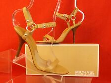 NIB MICHAEL KORS OUT DOWNTOWN QUARTER STRAP CHAMOIS HIGH HEEL SANDALS 8.5 $90