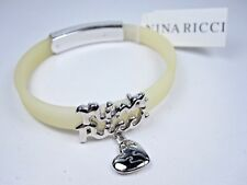 Bracelet with Heart Charm 0962 Nina Ricci Rhodium Plated White Silicone
