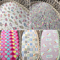 Bassinet baby Moses fitted sheets flannelette cotton bedding owls feathers blue