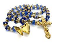 Gold Catholic Blue Crystal Beads Rosary Necklace Holy Mary Locket Medal & Cross